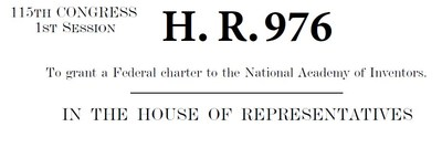 U.S. Rep. Dennis A. Ross (R-FL-15) has introduced H.R. 976, a bill to grant federal charter to the National Academy of Inventors (NAI).