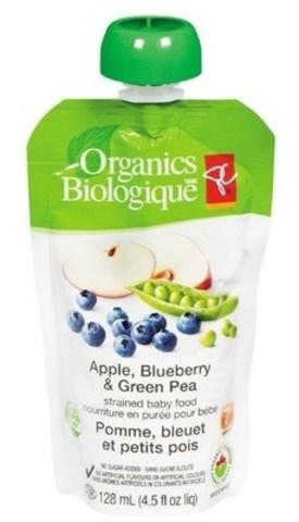 Nourriture en purée pour bébé en sachet PC Biologique (Groupe CNW/Le Choix du Président)