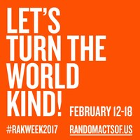 Random Acts of Kindness Week (#RAKWeek2017, Feb 12-18) is an annual opportunity to unite through kindness.
