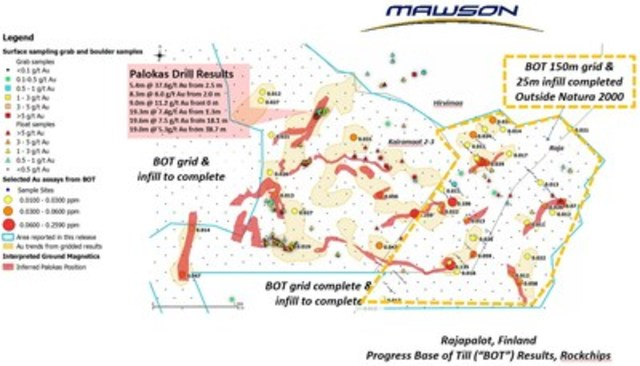 "Figure 1: Rajapalot, Finland: Progress Base of Till (""BOT"") Results and Rock Chips (CNW Group/Mawson Resources Ltd.)"