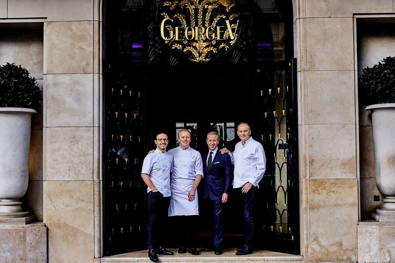 Simone Zanoni, David Bizet, Jose Silva, Christian Le Squer at Four Seasons Hotel George V, Paris (PRNewsFoto/Four Seasons Hotel George V,)