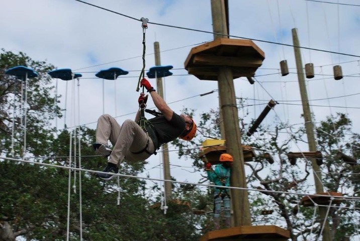 Injured veterans and guests tested their nerves, skills, and balance during a recent Wounded Warrior Project(R) (WWP) outing to Cocoa Beach Aerial Adventures zip line and ropes course.