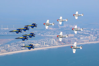 During the GEICO Skytypers 2017 air show season, the team will perform with the US Navy Blue Angels at select air shows. The Skytypers utilize the Navy's variant of the Texan T-6 training aircraft, the SNJ, to perform at air shows.