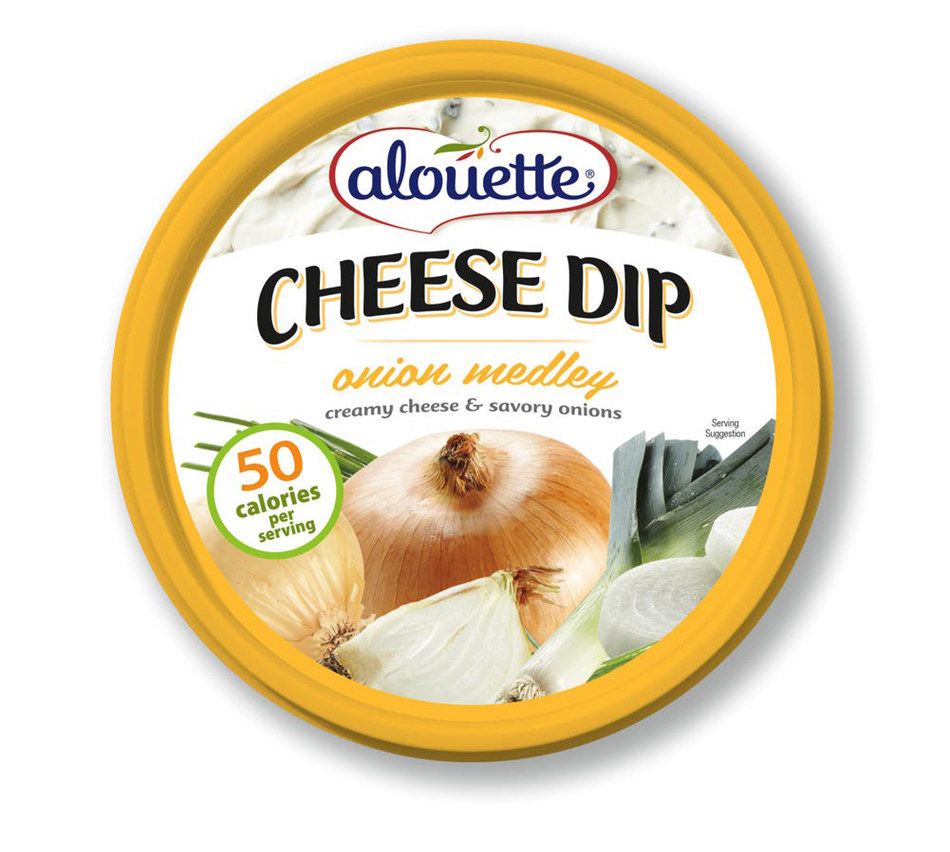NEW Alouette Cheese Dips come in three crowd-pleasing flavors, including Onion Medley with a savory blend of Vidalia onions, leeks, chives and decadent creamy cheese.