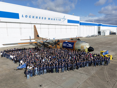 Lockheed Martin debuted its first LM-100J commercial freighter today in Marietta, Georgia.