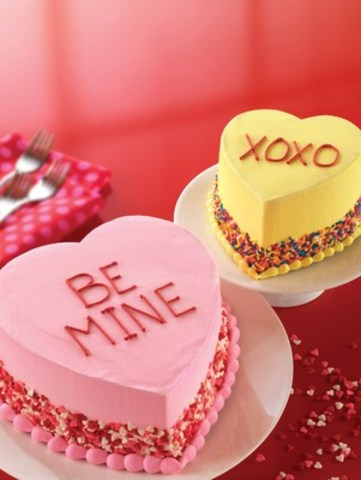 Conversation Heart cakes are available at Baskin-Robbins Canada, just in time for Valentine's Day (CNW Group/Baskin-Robbins Canada)