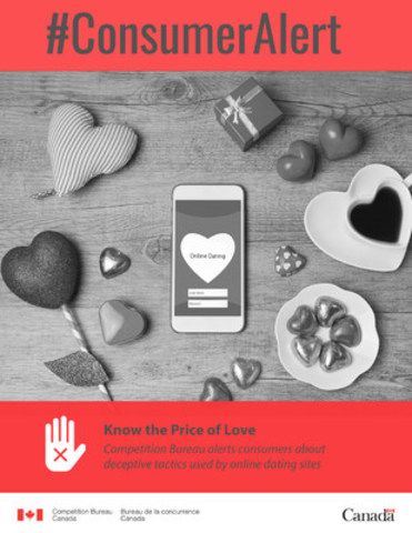 Competition Bureau alerts consumers about deceptive tactics used by online dating sites (CNW Group/Competition Bureau)