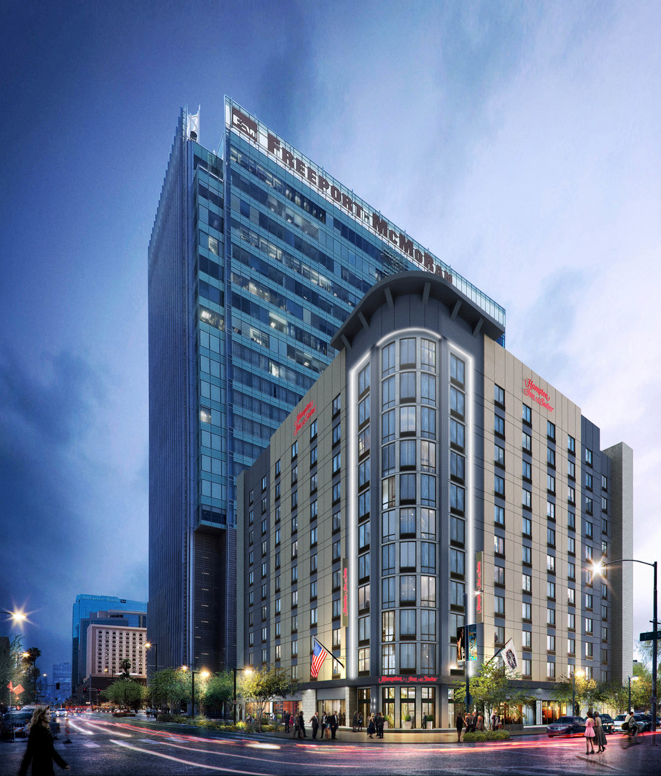 Mortenson is developing and building an 11-story, 210-key Hampton Inn & Suites by Hilton at the intersection of N. 1st Street and E. Polk Street in Phoenix, immediately south of the downtown campus of Arizona State University (ASU).