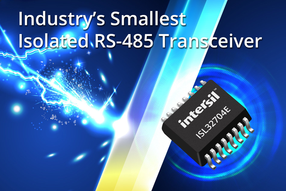 Intersil's ISL32704E is the industry's smallest isolated RS-485 differential bus transceiver designed to provide 4Mbps bidirectional data transmission for Industrial Internet of Things (IIoT) networks.