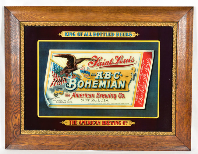 A-B-C Bohemian Reverse Painted Glass Sign. American Brewing. St. Louis, Missouri. Circa 1900. All original and excellent condition. Unique. Features patriotic American Eagle. Manufactured by Meek & Beach of Coshocton, Ohio. Bid at MoreanAuctions.com