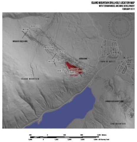 Island Mountain drillhole location map (CNW Group/Barkerville Gold Mines Ltd.)