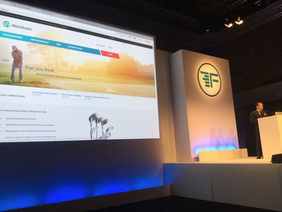 Worldcore CMO Sean Patterson unveils FaceKey technology to a crowd of 1,800 fintech industry insiders at FinovateEurope 2017 in London (PRNewsFoto/Worldcore Prague)