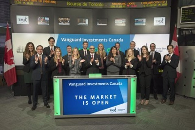 Atul Tiwari, Managing Director and Head of Canada, Vanguard Investments Canada Inc., joined Dani Lipkin, Head, Business Development, Exchange Traded Funds, Closed-End Funds, and Structured Notes, TMX Group to open the market to launch four new Exchange Traded Funds (ETFs): Vanguard Canadian Government Bond Index ETF (VGV); Vanguard Canadian Corporate Bond Index ETF (VCB); Vanguard Canadian Short-Term Government Bond Index ETF (VSG); and Vanguard Canadian Long-Term Bond Index ETF (VLB). Vanguard Investments Canada Inc. is a wholly owned indirect subsidiary of The Vanguard Group, Inc. and manages over $10 billion in assets. VGV; VCB; VSG; and VLB commenced trading on Toronto Stock Exchange on February 7, 2017. (CNW Group/TMX Group Limited)