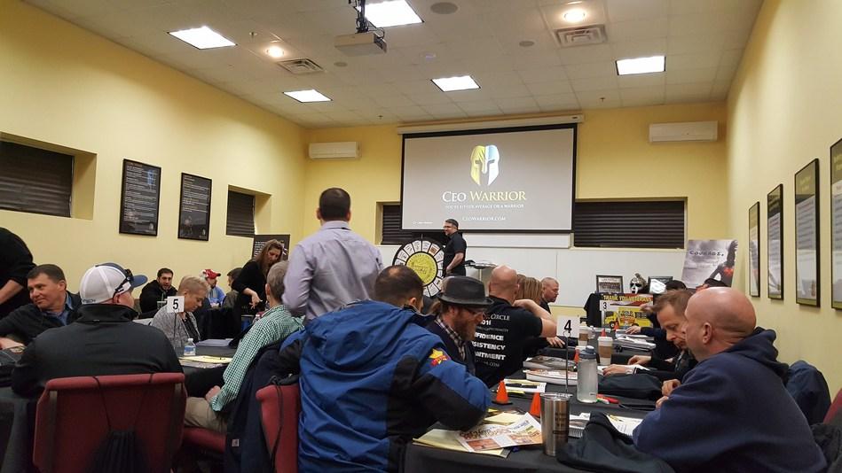 Mike Agugliaro preparing to speak to home service business owners at his Fast Track Academy earlier this month.