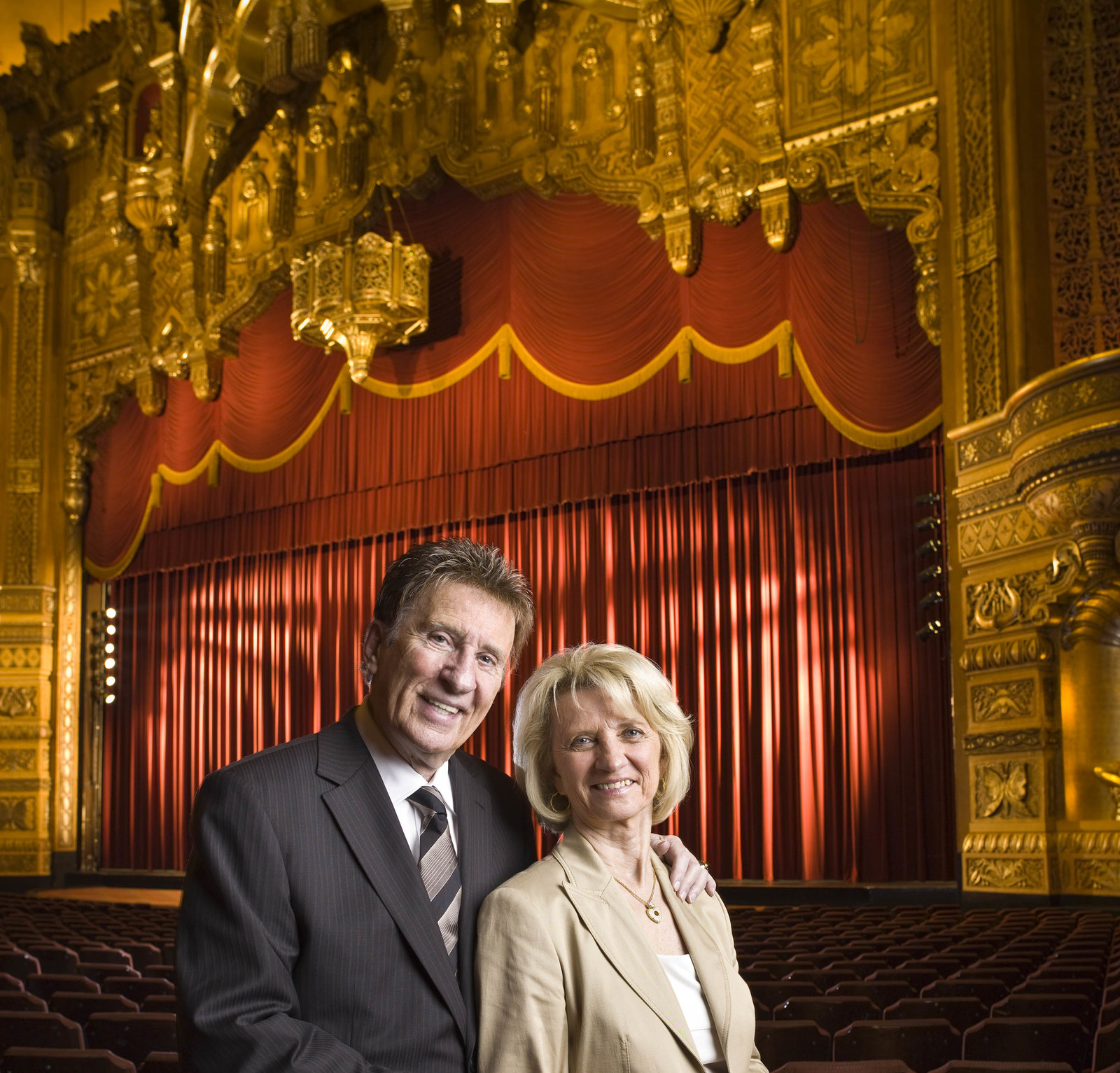 ilitch companies mourn death of mike ilitch mike and marian ilitch in the fox theatre