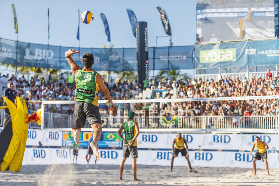 Evandro Goncalves Oliveira Junior and Andre Loyola Stein of Brazil battling Alvaro Magliano De Morais Filho and Saymon Barbosa Santos of Brazil during the Final of the Fort Lauderdale Major, part of the Swatch Beach Volleyball Major Series on February 11, 2017. (Martin Steinthaler/ Swatch Beach Volleyball Major Series/ Red Bull Content Pool )