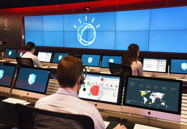 Security analysts at IBM X-Force Command Center are using Watson to augment their investigations into cybersecurity incidents. The company debuted Watson for Cyber Security, tapping a corpus of over 1 million security documents, to bring cognitive capabilities into security operations centers. IBM analysts are also experimenting with a new Watson-powered virtual assistant which uses voice response technology to better manage cybersecurity events. (John Mottern/Feature Photo Service for IBM) (PRNewsFoto/IBM Corporation)