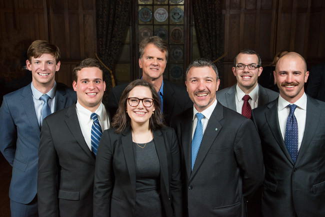 The winning team representing University of Denver Daniels College of Business, with their academic advisor and industry mentor. Photography courtesy of Bob Strle, bob@bobstrlephoto.com.