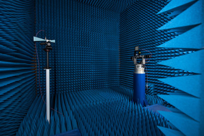 hiSky's in-house antenna range test facility used during antenna calibration and far field antenna radiation patterns at different scan angles. Automatic calibration and radiation pattern measurement scripts are used to significantly reduce test cycle duration. (PRNewsFoto/hiSky)