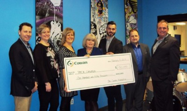 On the attached picture, we have in the following order: Peter Sweeney, CEO of the YMCAs of Cambridge, Kitchener/Waterloo Jennifer Holmes Weier, Senior Vice President, Advocacy, Communications and Public Policy, YMCA Canada Carol Parsons, Senior Consultant National Benefits, Cowan Insurance Group Heather McLachlin, President of Cowan Insurance Group Andrew Borrelli, Director, Development, School Perseverance, the YMCA's of Québec George Kalimeris, National Director, School Perseverance, the YMCA's of Québec Michael (Mike) Lough, VP, Programs, Frank Cowan Company. (CNW Group/YMCA)