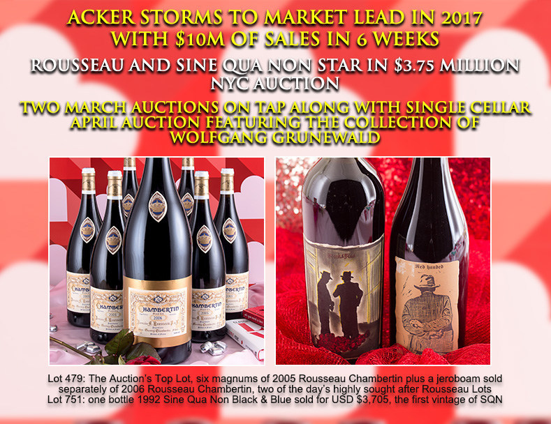 Lot 479: The Auction's Top Lot, six magnums of 2005 Rousseau Chambertin plus a jeroboam sold separately of 2006 Rousseau Chambertin, two of the day's highly sought after Rousseau Lots & Lot 751: one bottle 1992 Sine Qua Non Black & Blue sold for USD $3,705, the first vintage of SQN