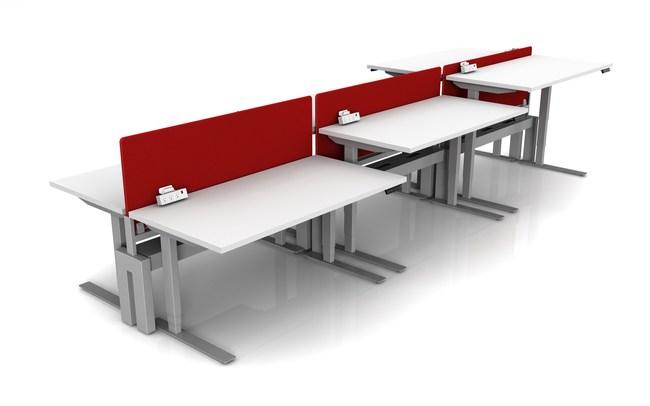 Endeavour sit/stand desks with Skyway Power Bridges/dividers