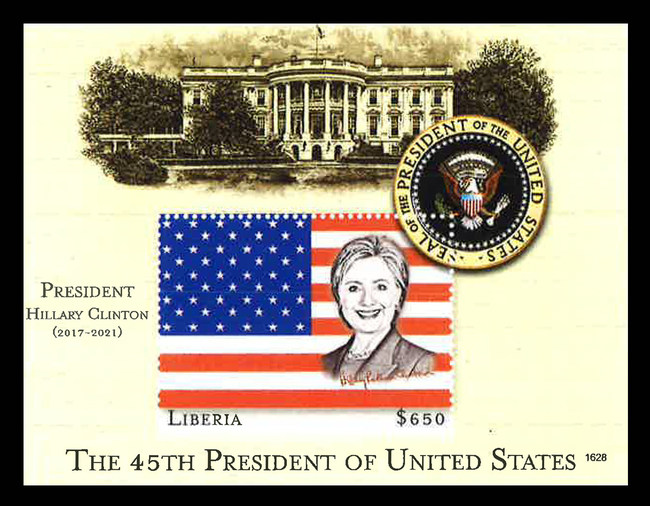 Commerotive stamp issued by Liberia to celebrate the Election of Hillary Clinton as the 45th President of the United States