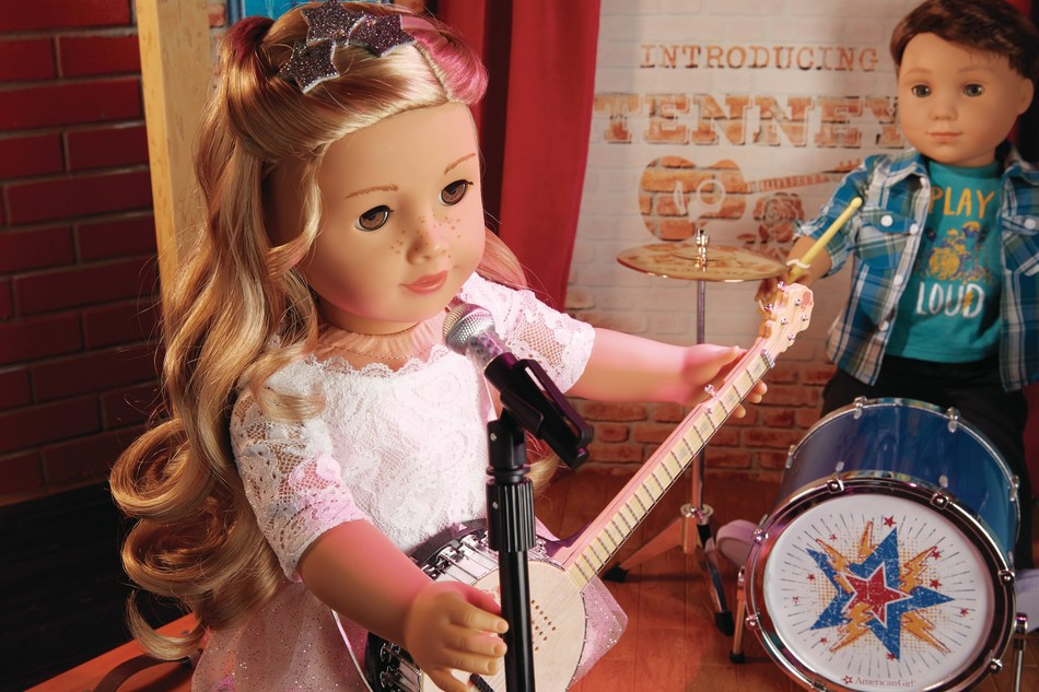 American Girl's newest contemporary character, Tenney Grant, with her bandmate and American Girl's first-ever boy character, Logan Everett.
