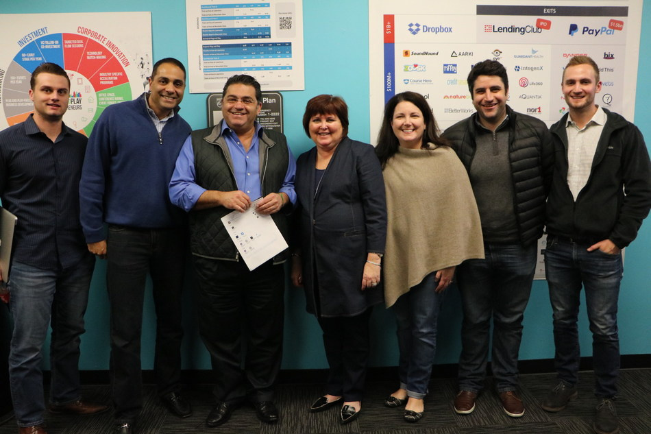 Plug and Play's CEO Saeed Amidi meets Synchrony Financial's President & CEO Margaret Keane at Plug and Play Tech Center's HQ in Sunnyvale, CA