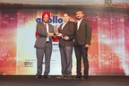 Mr. Deepak Thakker and Mr. Rajesh Madhvi receiving the award trophy from Mr. Rajinder Singh Sachdeva, CTO Volvo Eicher Group (PRNewsFoto/Gujarat Logistics)