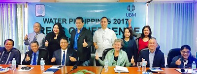 First row: (left to right) Engr. William Juan, President of PISMP; Dr. Robert Licup, President of PSSE; Engr. Eulogio Agatep II, President of PWWA; Ms. Eliane Van Doorn, Business Development Director ASEAN of UBM Asia; Mr. Erel Narida, President of REAP and Engr. Rolando Grospe, PWWA Board Member with some of the UBM and PWWA officials (2nd row).
