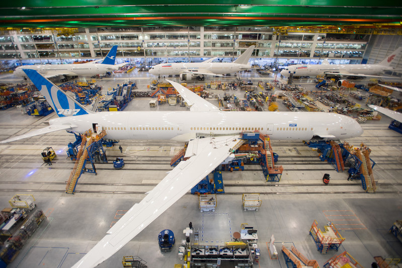 The first 787-10 is seen in final assembly at Boeing South Carolina.