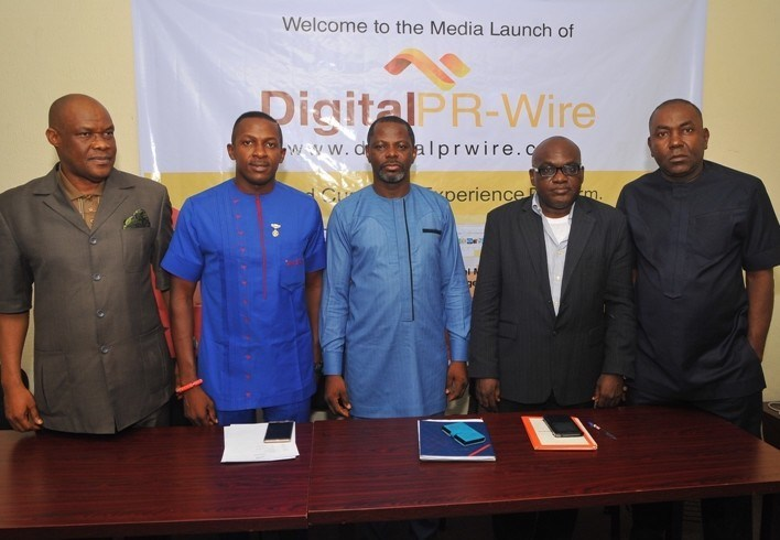 (L-r): Mr. Chuddy Oduenyi, MD, Compact Communications; Mr. Ifeanyi Aniagoh, Senior Special Adviser to Gov. Willie Obiano on Social Media; Mr. Celestine Achi, founder/CEO, Cihan Group; Mr. Muyiwa Akintunde, vice president, PRCAN and Mr. Ikem Okuhu, Lead Director, Reliks Media Ltd., at the media launch of DigitalPRWire on Tuesday, February 14, 2017 in Lagos. (PRNewsFoto/Cihan Group)