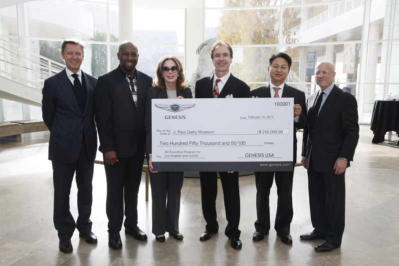 From left, Timothy Potts, Director, J. Paul Getty Museum, Irving Raphael, General Manager, Genesis USA, Maria Hummer-Tuttle, Chairman of the Board of Trustees, J. Paul Getty Trust, Jerry Flannery, President and CEO, Genesis Motor America, Harry Han, Chief Executive Coordinator, Genesis Motor America and Jim Cuno, President and CEO, J. Paul Getty Trust accept an arts education grant from Genesis Motor America at the J. Paul Getty Museum on Tuesday, February 14, 2017, in Los Angeles, California. (Photo by Ryan Miller/Capture Imaging)