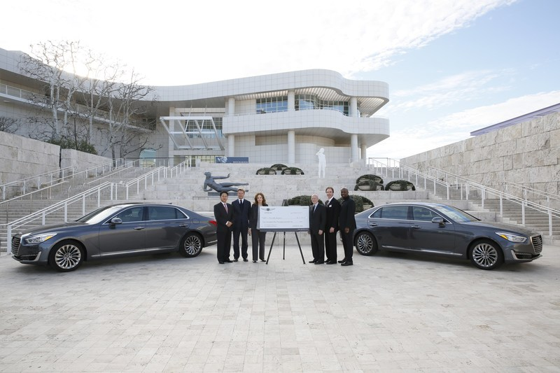 From left, Harry Han, Chief Executive Coordinator, Genesis Motor America, Timothy Potts, Director, J. Paul Getty Museum, Maria Hummer-Tuttle, Chairman of the Board of Trustees, J. Paul Getty Trust, Jim Cuno, President and CEO, J. Paul Getty Trust, Jerry Flannery, President and CEO, Genesis Motor America and Irving Raphael, General Manager, Genesis USA accept an arts education grant from Genesis Motor America at the J. Paul Getty Museum on Tuesday, February 14, 2017, in Los Angeles, California. (Photo by Ryan Miller/Capture Imaging)