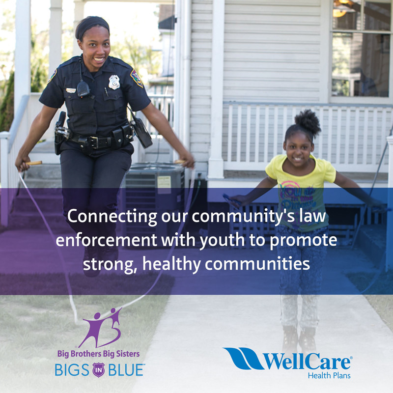 """The WellCare Community Foundation has committed up to $250,000 annually to support Big Brothers Big Sisters of America (BBBSA), the nation's oldest one-to-one youth mentoring organization, and its """"Bigs in Blue"""" program, which recruits local law enforcement officers to serve as mentors to youth in their communities."""