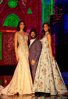 Mac Duggal at NYFW Premiere of Fall Winter 2017 with Raquel Pelissier Miss Universe Haiti 1st Runner Up and Chanelle De Lau Miss Universe Curacao