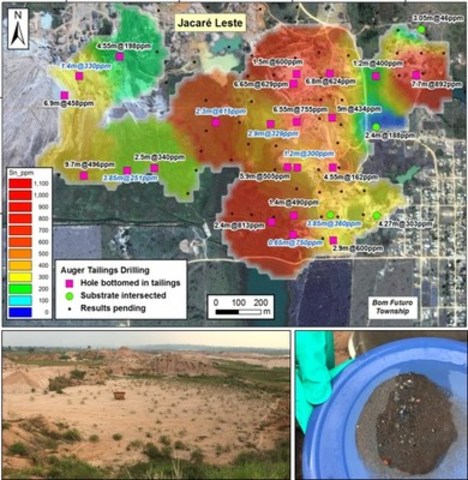 Figure 2: Top: Grade distribution in the Jacaré Leste Area. Composites in labelled in black are reported from ALS Canada; those in blue are from the local Bom Futuro laboratory with ALS checks pending. Bottom: Overview of tailings area, and example of freely liberated cassiterite panned from the tailings (metallic grey gravel) and sand particles. (CNW Group/Meridian Mining S.E.)