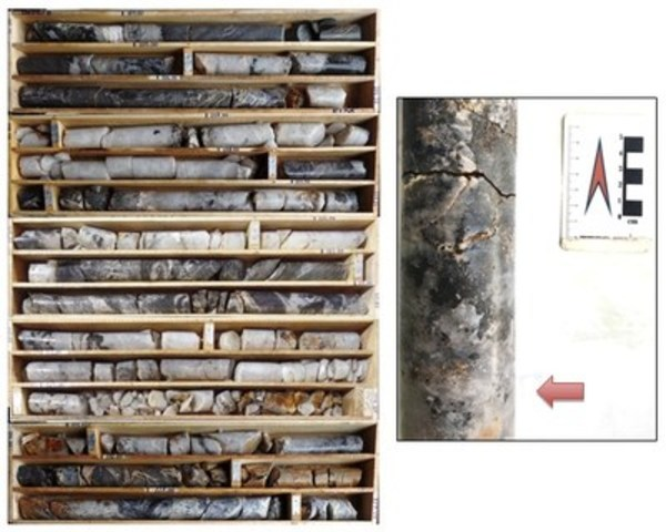Figure 4: Drill core from Meridian drill hole DDH_BF_0004, illustrating oxide-sulphide mineralization with a package of quartz veins, 103.9 - 115.9m (example arrowed to the right). Assay results pending. (CNW Group/Meridian Mining S.E.)