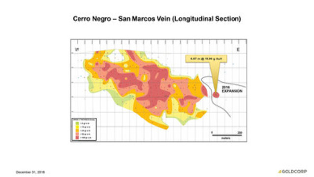 Cerro Negro - San Marcos Vein (Longitudinal Section) (CNW Group/Goldcorp Inc.)