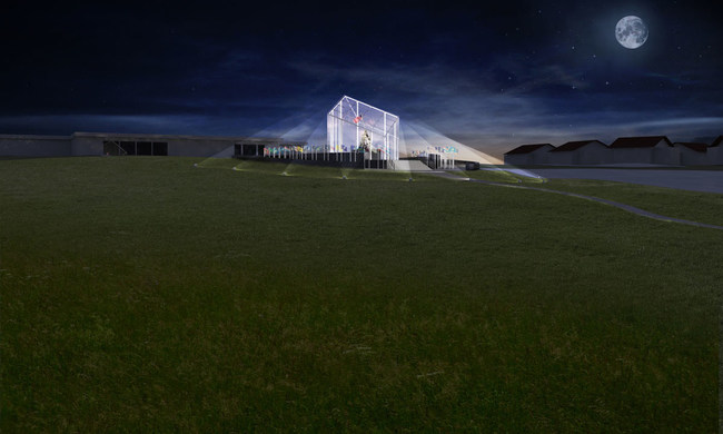 Proposed Iwo Jima Flag Raising Monument for Camp Pendleton, designed by Fentress Architects of Denver Colorado, as it would look at night, facing the Pacific Ocean, towards Iwo Jima.