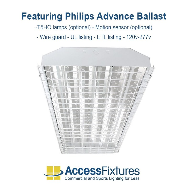 6-Lamp caged T5 fluorescent high bay