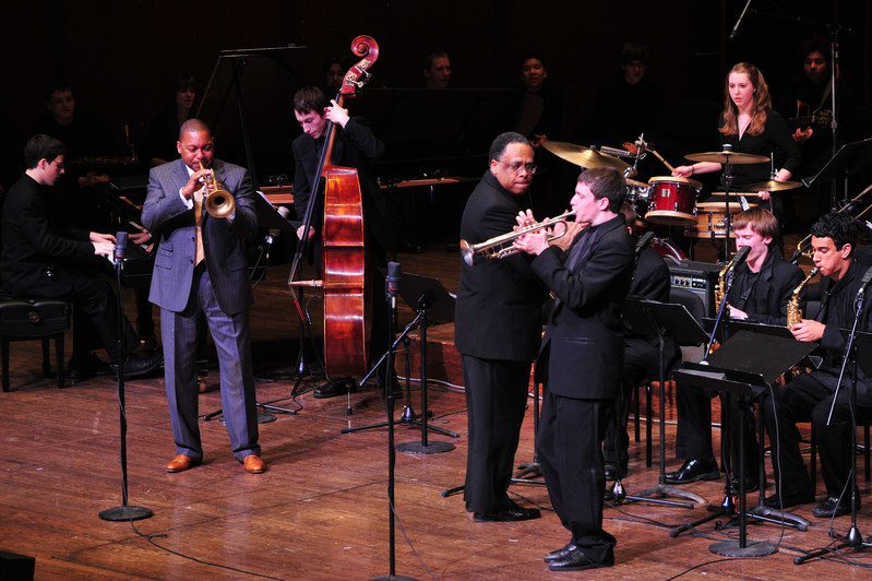 Jazz at Lincoln Center Managing and Artistic Director Wynton Marsalis plays with students at the Essentially Ellington High School Jazz Band Competition and Festival in NYC