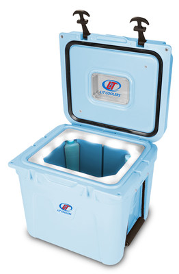 LiT Coolers feature patented Night Sight LED liners in all its coolers, including the TS-300, a 22-quart capacity model that also offers corner 'Ice Legs' for longer ice retention.
