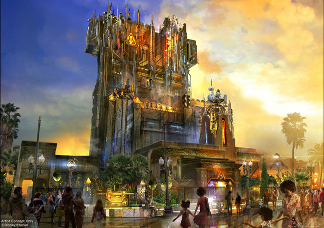 """Guardians of the Galaxy-Mission: BREAKOUT! debuts May 27, 2017, taking guests at Disney California Adventure park through the fortress-like museum of the mysterious Collector. Guests will join a daring adventure with Rocket Raccoon in an attempt to set free his fellow Guardians. The epic new adventure takes guests straight into the """"Guardians of the Galaxy"""" story for the first time with all-new effects and randomized ride experiences. (Artist Concept-Disneyland Resort)"""