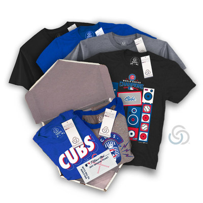 "SustainU MLB T-Shirt Club ""The Triple"" package featuring the 2016 World Series Champions, Chicago Cubs Shirts. For more information on how to join THE MLB T-Shirt Club and gain access to limited edition MLB fan shirts, visit https://mlbtshirtclub.com/why-join/. (PRNewsFoto/SustainU)"