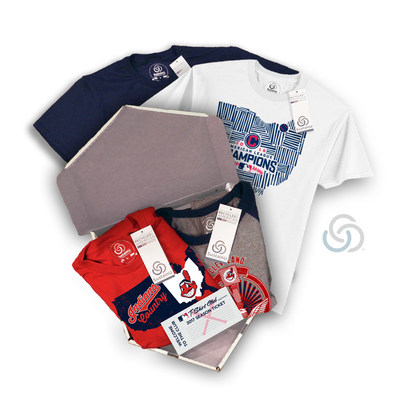 """SustainU MLB T-Shirt Club """"The Double"""" package featuring the Cleveland Indians Shirts. For more information on how to join THE MLB T-Shirt Club and gain access to limited edition MLB fan shirts, visit https://mlbtshirtclub.com/why-join/. (PRNewsFoto/SustainU)"""