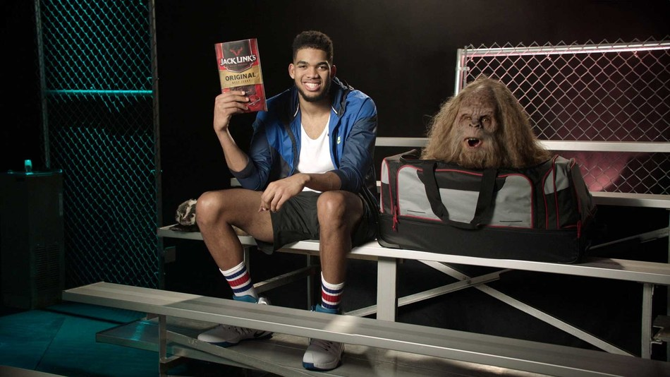 Sasquatch and Karl-Anthony Towns in Jack Link's Workin' Out With Sasquatch campaign