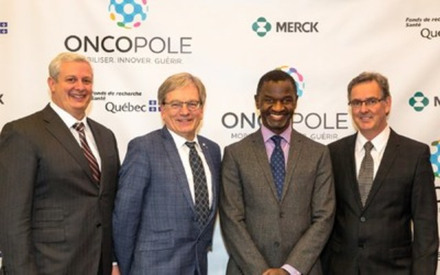 Mr. Adam H. Schechter, President, Global Human Health, Merck, Mr. Rémi Quirion, Québec Chief Scientist and Chairman of the boards of directors of the Fonds de recherche du Québec, Mr. Chirfi Guindo, President and Managing Director of Merck Canada Inc. and Mr. Jacques Simard, Oncopole leader - axis 2 (CNW Group/Oncopole)