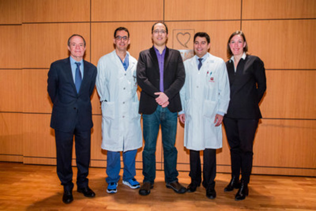 Dr. Denis Roy, Dr. Laurent Macle, Mr. Keeron Tom, Dr. Paul Khairy and Mrs. Melanie La Couture (CNW Group/Montreal Heart Institute Foundation)